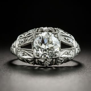 Art Deco 1.33 Carat Diamond Platinum Engagement Ring - GIA J VS2 - 2