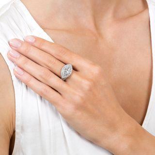 Art Deco 1.38 Carat Moval Diamond Engagement Ring - GIA E SI1