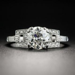 Art Deco Style 1.48 Carat Diamond Platinum Engagement Ring - GIA J VS2 - 1