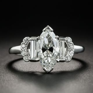 Art Deco 1.50 Carat Marquise Diamond Engagement Ring - GIA G SI1  - 1