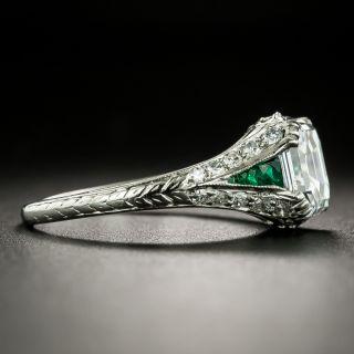 Art Deco 1.53 Carat Emerald-Cut Diamond and Emerald Ring - GIA G VVS2