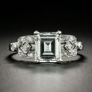 Art Deco 1.65 Carat Emerald-Cut Diamond Engagement Ring - GIA D VS1 - 2