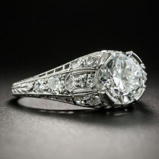 Art Deco 1.74 Carat Diamond Engagement Ring - GIA E VS1