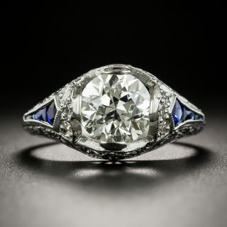 Art Deco 1.82 Carat Diamond and Sapphire Engagement Ring - GIA L VS2 - 2