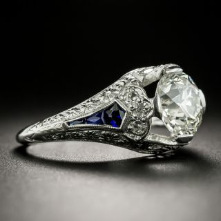 Art Deco 1.82 Carat Diamond and Sapphire Engagement Ring - GIA L VS2