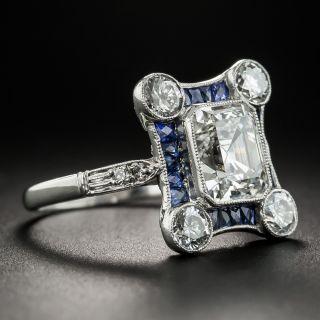 Art Deco Style 1.93 Asscher-Cut Diamond Calibre Sapphire Ring - GIA I VS2