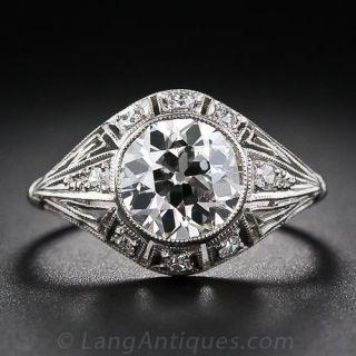 Art Deco 1.93 Carat Diamond Platinum Engagement Ring - 1