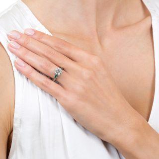 Art Deco 1.95 Carat Diamond Platinum Engagement Ring With Calibre Emeralds - GIA I VS2