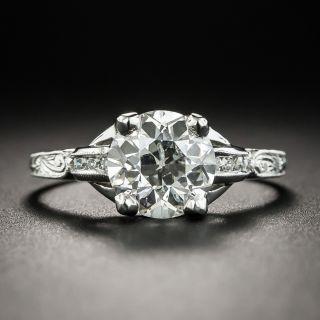 Art Deco 2.01 Carats Platinum Engagement Ring - GIA I SI2 - 3