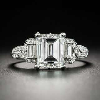 Art Deco 2.07 Carat Emerald-Cut Diamond and Engagement Ring - GIA F VVS2 - 2