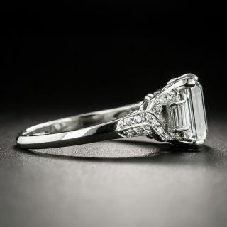 Art Deco 2.07 Carat Emerald-Cut Diamond and Engagement Ring - GIA F VVS2