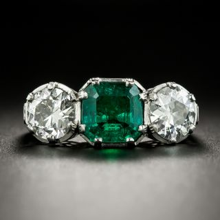 Art Deco 2.08 Carat Emerald and Diamond Platinum Ring - GIA - 3