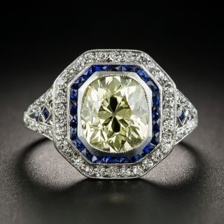Art Deco 2.18 Carats Fancy Yellow Diamond Ring with Calibre Sapphires  - 1