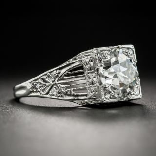 Art Deco 2.21 Carat Diamond Platinum Engagement Ring - GIA I SI2
