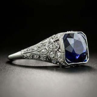 Art Deco 2.25 Carat No-Heat Sapphire and Diamond Ring