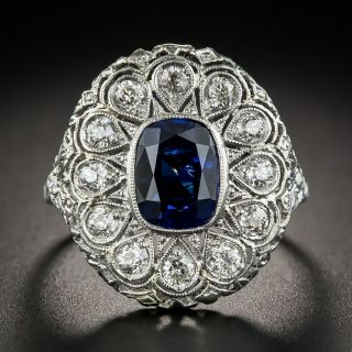 Art Deco 2.30 Carats Natural Ceylon Sapphire Platinum Diamond Ring - 1