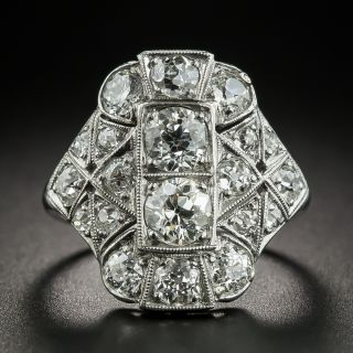 Art Deco 2.35 Carat Total Weight Diamond Dinner Ring - 2