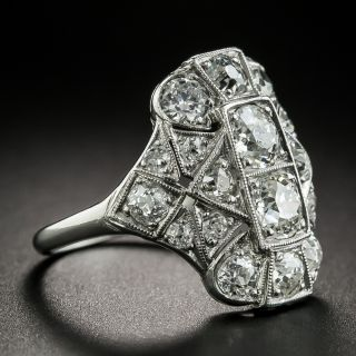 Art Deco 2.35 Carat Total Weight Diamond Dinner Ring
