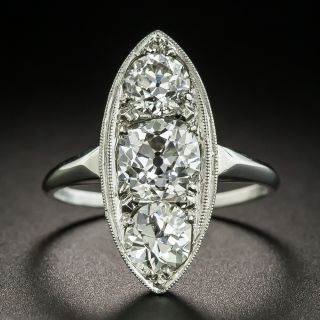 Art Deco 2.35 Carats Three-Stone Diamond Dinner Ring - 2