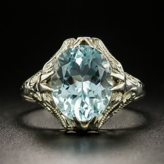 Art Deco 2.50 Carat Aquamarine Filigree Ring - 4