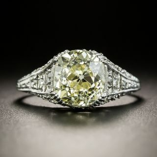 Art Deco 2.50 Carat Old Mine Cut Diamond Engagement Ring - GIA - 3