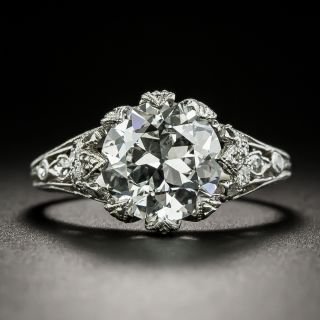 Art Deco 2.70 Carat Diamond Engagement Ring - GIA F SI2 - 3