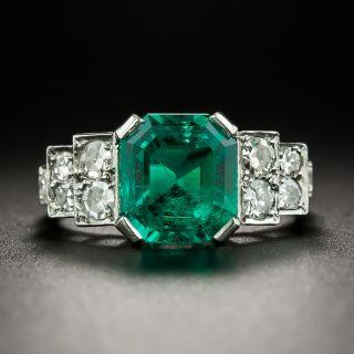 Art Deco 2.81 Carat Gemmy Emerald and Diamond Ring - AGL Minor Enhancement - 3
