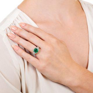 Art Deco 2.81 Carat Gemmy Emerald and Diamond Ring - AGL Minor Enhancement