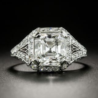 Art Deco 2.85 Carat Asscher-Cut Diamond Engagement Ring by Birks - GIA I VS1 - 2