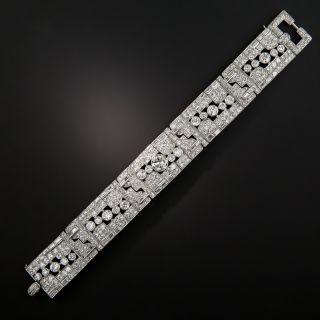 Art Deco 20 Carats Platinum Diamond Bracelet  - 7