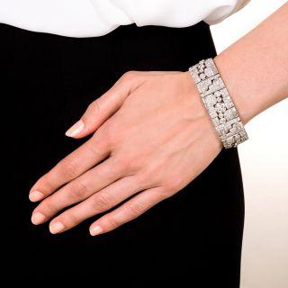 Art Deco 20 Carats Platinum Diamond Bracelet