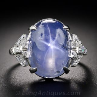 Art Deco 22.00 Carat Star Sapphire and Diamond Ring - 1