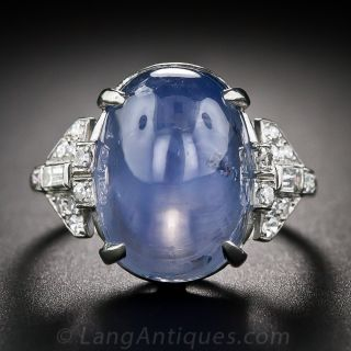 Art Deco 22.00 Carat Star Sapphire Platinum Diamond Ring