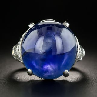 Art Deco 29 Ct. Burmese No-Heat Cabochon Sapphire Diamond  Platinum Ring - 2
