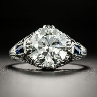 Art Deco 3.08 Carat Diamond Engagement Ring - GIA I VS1 - 1