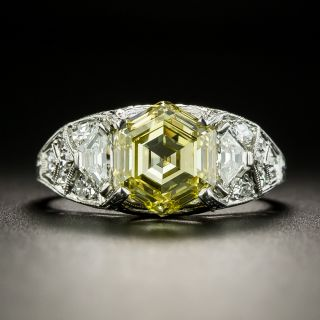 Art Deco 3.15 Carat Fancy Intense Yellow Hexagonal Diamond Ring by Maurice Tishman - GIA  - 2