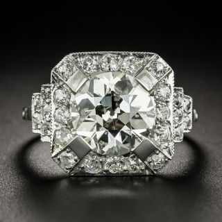 Art Deco 3.18 Carat Diamond Engagement Ring - GIA L I1 - 3