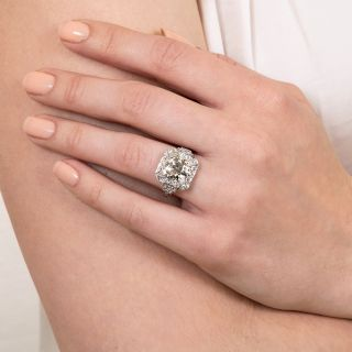 Art Deco 3.18 Carat Diamond Engagement Ring - GIA L I1