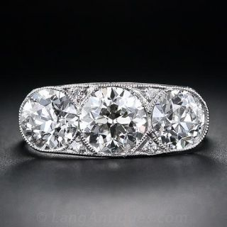 Art Deco 3.18 Carat Total Three-Stone Diamond Ring - 1