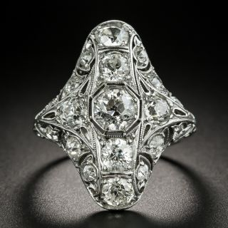 Art Deco 3.25 Carat Total Weight Diamond Dinner Ring - 2
