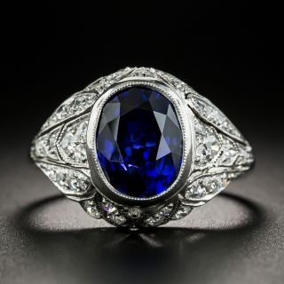 Art Deco 3.59 Carat Ceylon Sapphire and Diamond Ring - GIA - 2