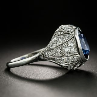 Art Deco 3.59 Carat Ceylon Sapphire and Diamond Ring - GIA
