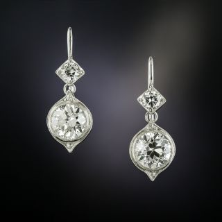 Art Deco 3.80 Carat Total Diamond Dangle Earrings