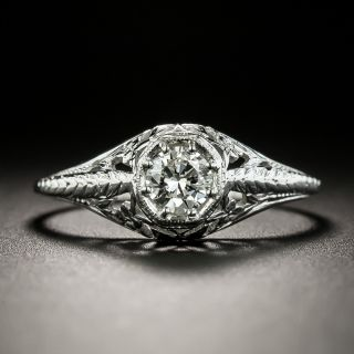 Art Deco .30 Carat Diamond Solitaire Engagement Ring - 3