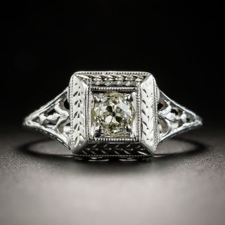 Art Deco .31 Carat Diamond Solitaire Engagement Ring - 2