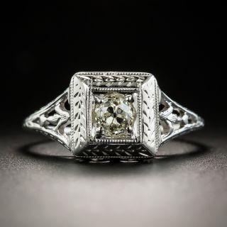 Art Deco .31 Carat Diamond Solitaire Engagement Ring - 2