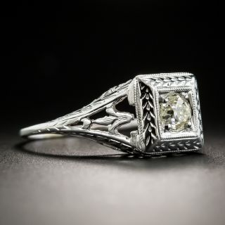 Art Deco .31 Carat Diamond Solitaire Engagement Ring