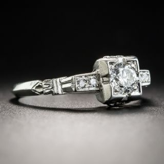 Art Deco .31 Carat Platinum Diamond Engagement Ring
