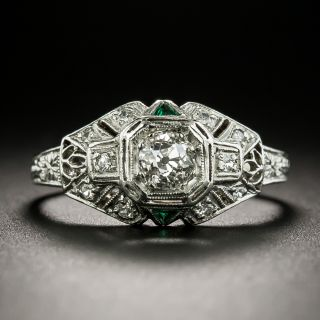 Art Deco .33 Carat Diamond Engagement Ring - 3