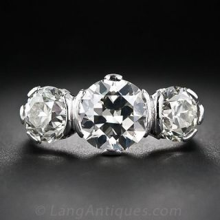 Art Deco 4.10 Carats Diamond Three-Stone Ring - GIA - 1